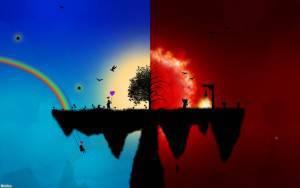 Рай, ад, синий, красный, 1680x1050