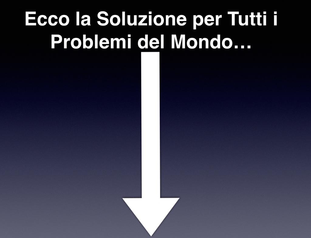 Ecco la Soluzione per risolvere rapidamente tutti i problemi del mondo!