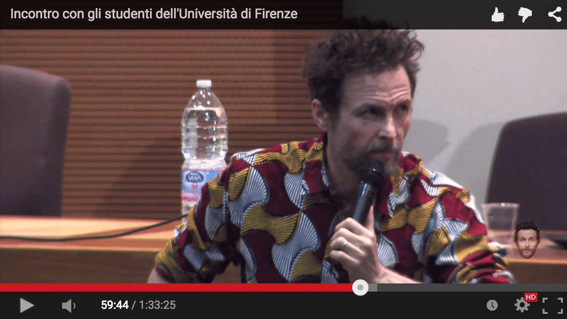 Jovanotti SHOCK, Parla apertamente della sua adesione alla filosofia Massonica davanti agli Studenti all'Università di Firenze