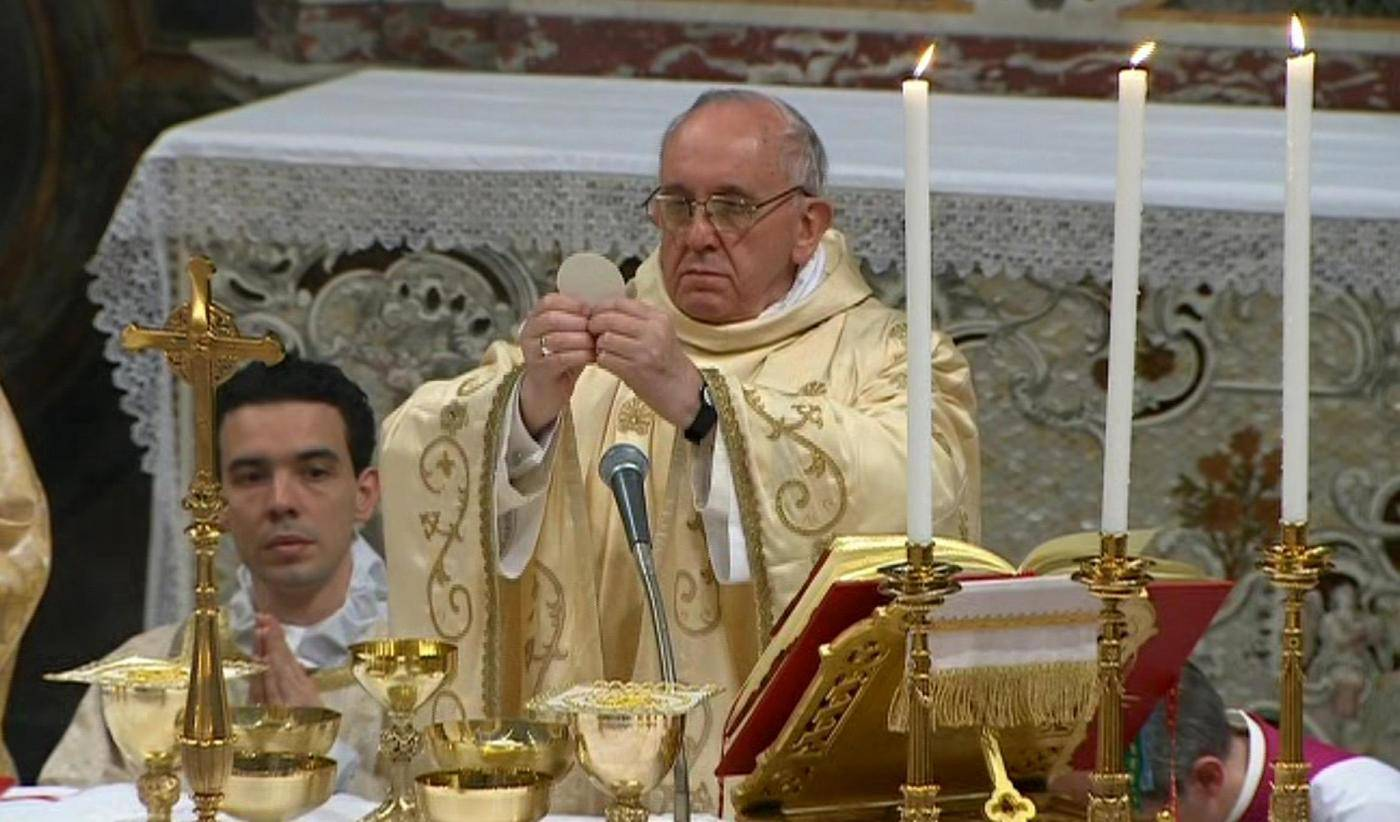 In this image made from video provided by CTV, Pope Francis, right, celebrates his inaugural Mass with cardinals inside the Sistine Chapel, at the Vatican, Thursday, March 14, 2013. As the 266th pope, Francis inherits a Catholic church in turmoil, beset by the clerical sex abuse scandal, internal divisions and dwindling numbers in parts of the world where Christianity had been strong for centuries. (LaPresse/AP Photo/CTV)