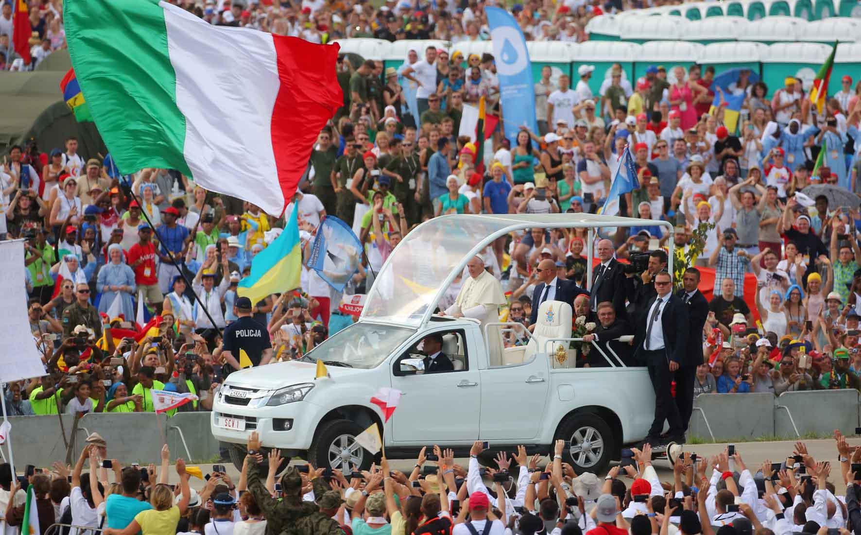 Cracovia 30 luglio 2016. GMG 2016 Papa Francesco alla Messa con i giovani