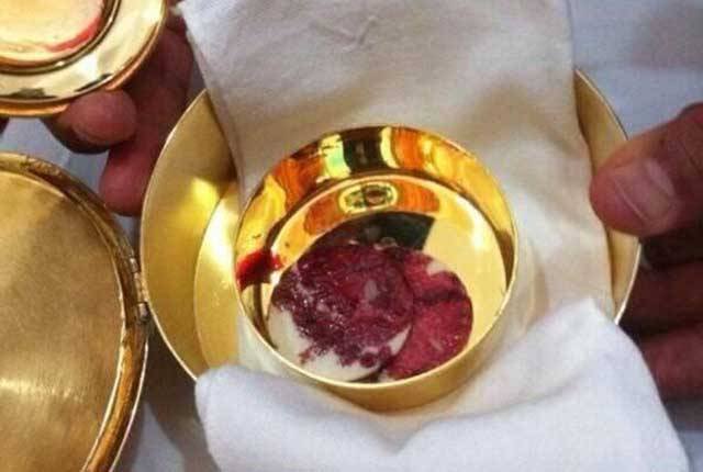Possible Eucharistic Miracle in Guadalajara, the hosts are covered in blood