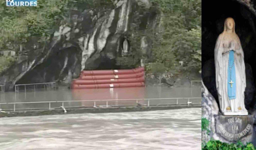 pericolo a Lourdes la grotta rischia di essere inondata dalle acque
