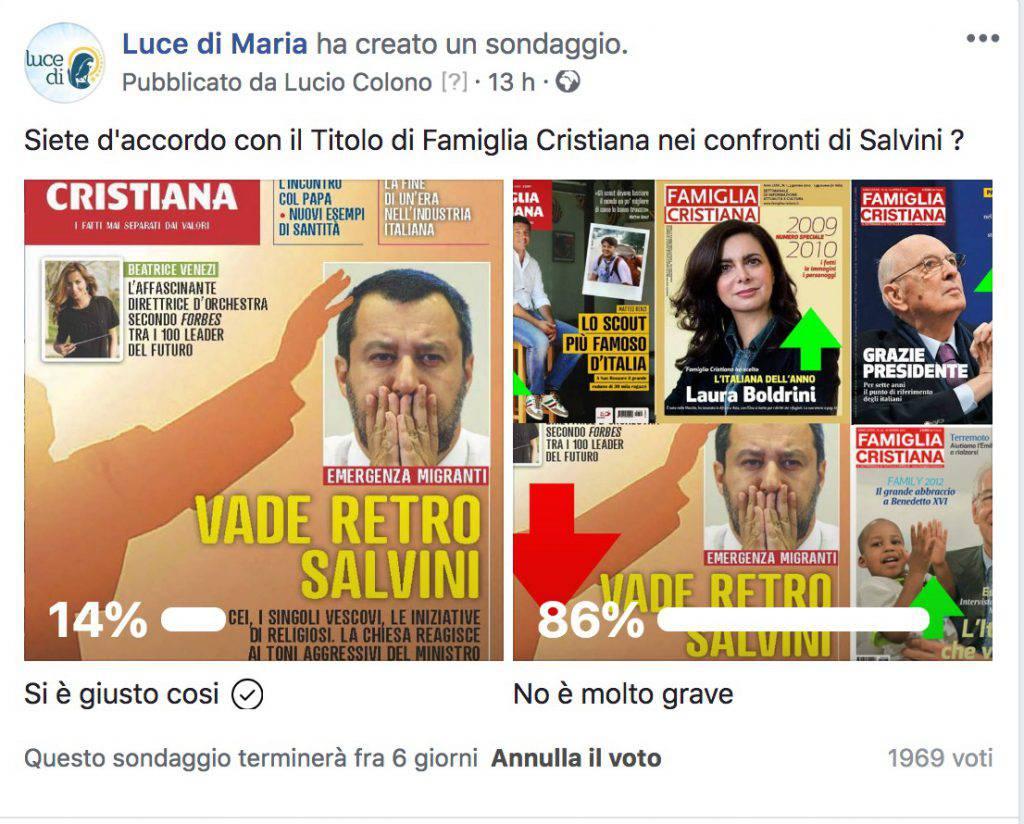 Il titolo di 'Famiglia Cristiana' contro Salvini: ecco cosa pensano in nostri lettori