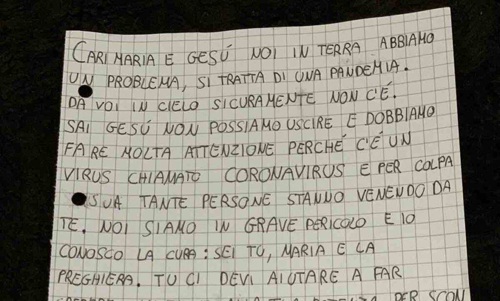 Lettera di una bambina di 10 anni a Gesù e Maria, a cui chiede aiuto contro il Covid