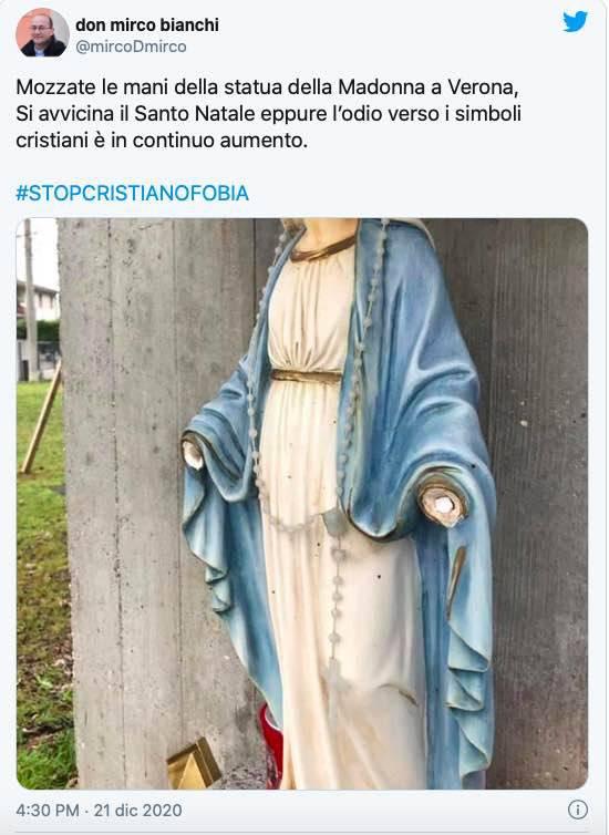 Sacerdote denuncia l'attacco alla Madonna