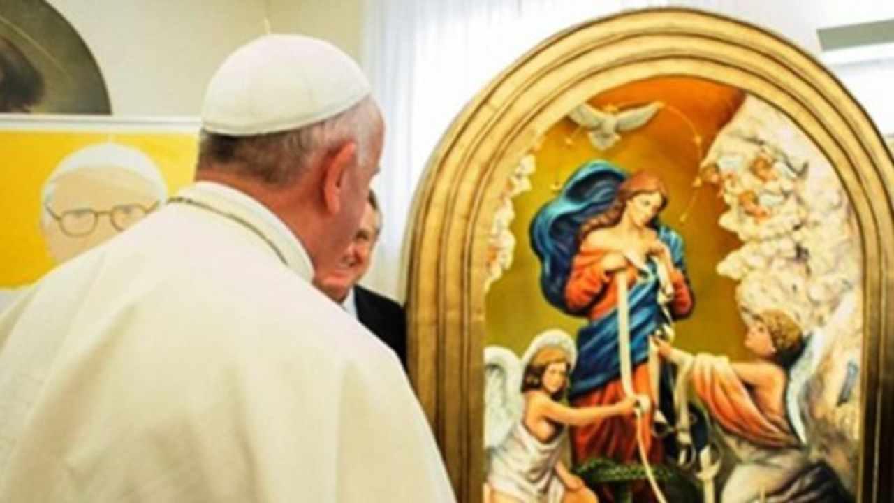 Papa Francesco e Maria che scioglie i nodi