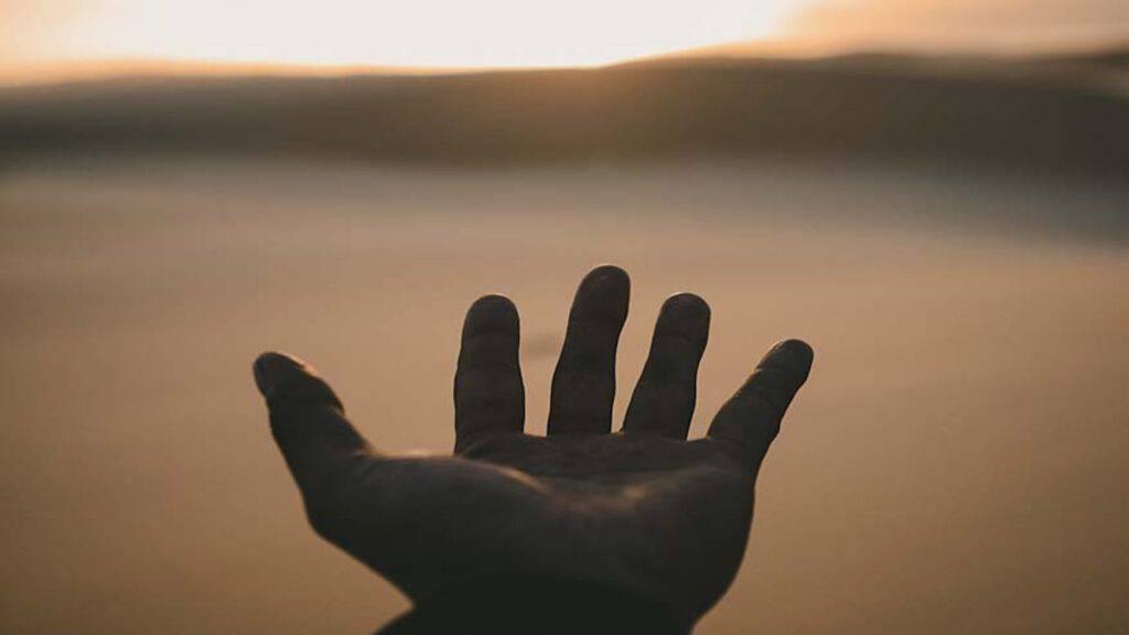 Mano aperta al mondo creato da Dio
