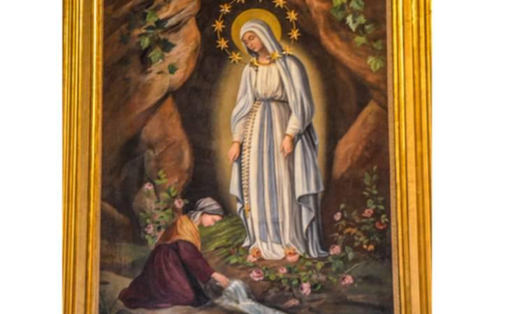 madonna di lourdes con santa bernadette