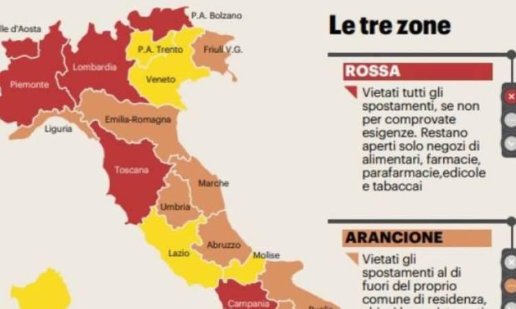 l'italia divisa in zone