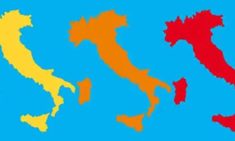italia in zona rossa, gialla o arancione