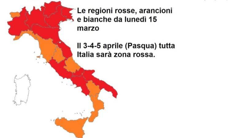 italia divisa in zona arancione e rossa
