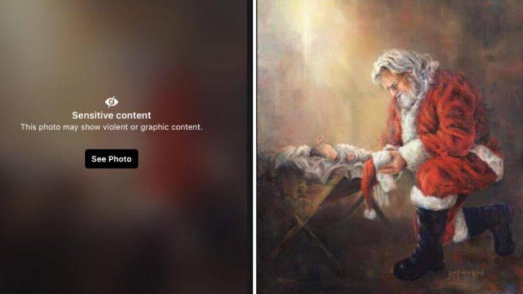 Babbo-Natale-inginocchiato-Gesù-bambino-Censura-Facebook