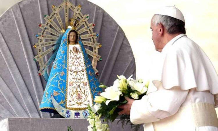 papa francesco e la vergine di lujan