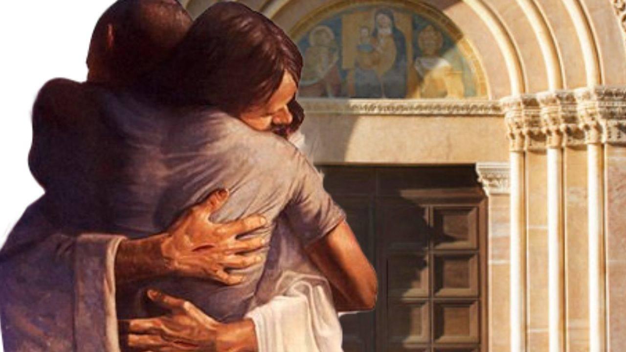 Porta giubilare Gesù abbraccio